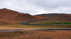Namaskard winding ringroad in Iceland Stock Images