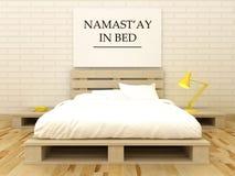 Namast'ay in bed. Namaste yoga art. Bedroom decor. Yoga gift idea. Motivation art. Royalty Free Stock Photos