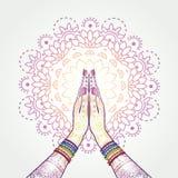 Namaste装饰了被扣紧的手 向量例证