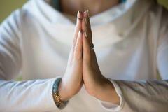 Namaste, конец-вверх Стоковое Фото