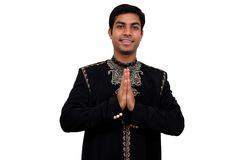 Namaste 1 with clipping path. Indian in traditional clothes in namaste pose (1) with clipping path Stock Image