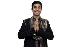 Namaste 2 with clipping path. Indian in traditional clothes in namaste pose (2) with clipping path Stock Photography