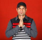 Namaste. Indian boy in namaste pose Royalty Free Stock Photos