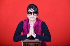 Namaste. Indian girl in namaste pose Royalty Free Stock Photo