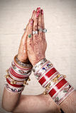 Namaste. Beautiful closeup shot of hands in namaste form stock image