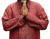 Namaste. Man in namaste position isolated over white background, also can be used to represent prayer stock photos