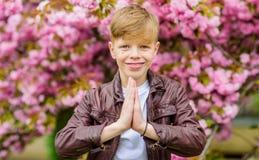 Namaste concept. Peaceful child enjoy warm spring day. Sakura garden. Child pink flowers of sakura tree background. Guy. Enjoying cherry blossom sakura. Boy stock images
