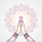 Namaste Decorated Hands Clasped. Hands decorated greeting position namaste-transparency blending effects and gradient mesh-EPS 10 Stock Image