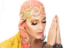 Namaste. Ethnic Woman Royalty Free Stock Image