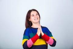 Namaste gest fotografering för bildbyråer