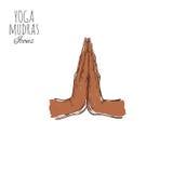 Namaste Indische mudra spirituality India yoga Vectorhand getrokken affiche, stock illustratie
