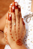Namaste with mehandi hands Royalty Free Stock Photos