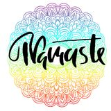 Namaste modern dry brush lettering on mandala pattern background. Yoga typography poster. Vector illustration. Namaste modern dry brush lettering on mandala Stock Photos