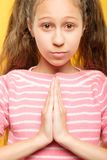 Namaste girl hands greeting gesture kids yoga stock images