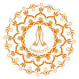 Namaste mudra i mandalacirkel Royaltyfri Foto