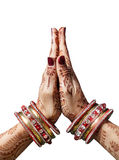 Namaste mudra. Woman hands with henna in Namaste mudra on white background royalty free stock photography
