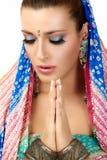Namaste Mujer étnica fotografía de archivo