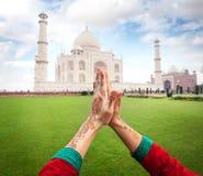 Namaste Taj Mahal fotografia stock