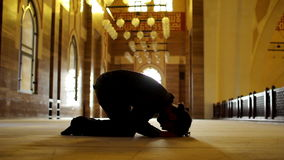 Namaz: muslim man worship in mosque stock video footage