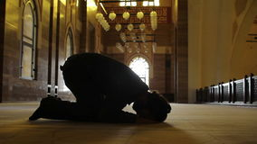 Namaz: muslim man worship in mosque stock footage