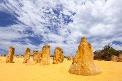 Nambung National Park  Australia, limestone pillars orm one of Australia's most intriguing landscapes. Nambung National Park and Pinnacle desert in Western Royalty Free Stock Photography