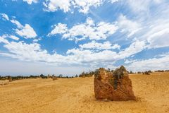 Nambung National Park  Australia, limestone pillars orm one of Australia's most intriguing landscapes. Nambung National Park and Pinnacle desert in Western Royalty Free Stock Images