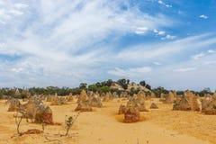 Nambung National Park  Australia, limestone pillars orm one of Australia's most intriguing landscapes. Nambung National Park and Pinnacle desert in Western Stock Photography