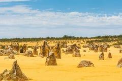 Nambung National Park  Australia, limestone pillars orm one of Australia's most intriguing landscapes. Nambung National Park and Pinnacle desert in Western Stock Photo