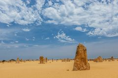 Nambung National Park  Australia, limestone pillars orm one of Australia's most intriguing landscapes. Nambung National Park and Pinnacle desert in Western Royalty Free Stock Photos