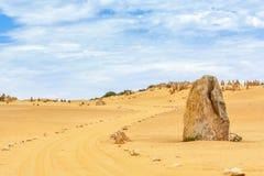 Nambung National Park  Australia, limestone pillars orm one of Australia's most intriguing landscapes. Nambung National Park and Pinnacle desert in Western Stock Image