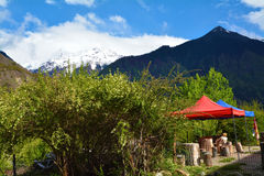 Namcha barwa snow mountain and pavilion Royalty Free Stock Photo