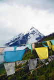 Namche barwa snow mountain peak with Tibetan flags Royalty Free Stock Photography