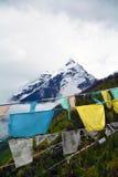 Namche barwa snow mountain peak with Tibetan flags Royalty Free Stock Photography