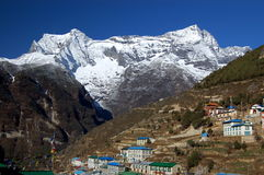 Namche Bazaar. View at Namche Bazaar village in Nepal. Village is on the way to the Mount Everest base camp Royalty Free Stock Photo