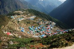 Namche Bazaar. High mounting town in Nepal Stock Photography