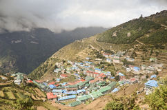 Namche Bazaar Himalayan village Stock Image
