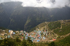 Namche Bazaar Himalayan village Stock Images