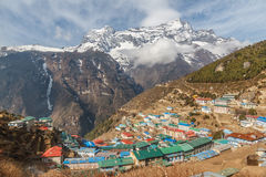 Namche Bazaar. Located in the Everest region at an altitude of 3500m, the small Sherpa town Namche Bazaar is the gateway for trekking and mountaineering royalty free stock image