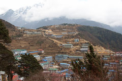Namche Bazaar panorama, Everest trail, Nepal Stock Photos
