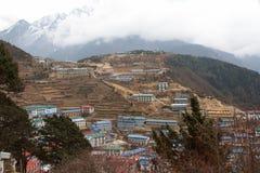 Namche Bazaar panorama, Everest trail, Nepal Stock Photos