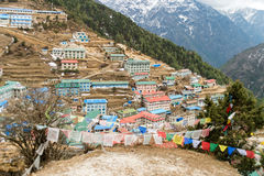 Namche Bazaar sherpa village in Nepal. On the way to Everest Base Camp: Namche Bazaar sherpa village in Nepal Royalty Free Stock Images