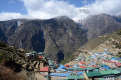 Namche Bazaar view - popular place among trekkers,Nepal Stock Image