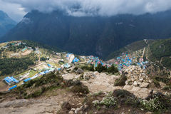 Namche Bazaar village  high above view. Royalty Free Stock Photography