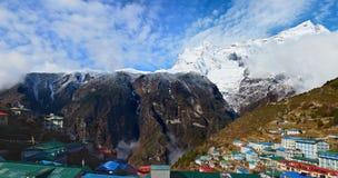 Namche Bazaar village with Kongde Ri mount on the background, Nepal Royalty Free Stock Image