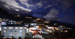 Namche Bazaar village at night Royalty Free Stock Image