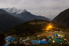 Namche Bazaar village at night, Nepal. Royalty Free Stock Photo