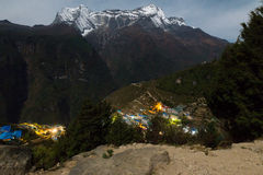 Namche Bazaar village at night, Nepal. Royalty Free Stock Images