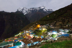 Namche Bazaar village at night, Nepal. Stock Photo