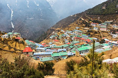 Namche Bazaar is a village of Sherpas, Nepal. Himalaya Spring 2012 Royalty Free Stock Photography
