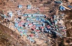 Namche Bazar - den Sagarmatha nationalparken - Khumbu dal Fotografering för Bildbyråer